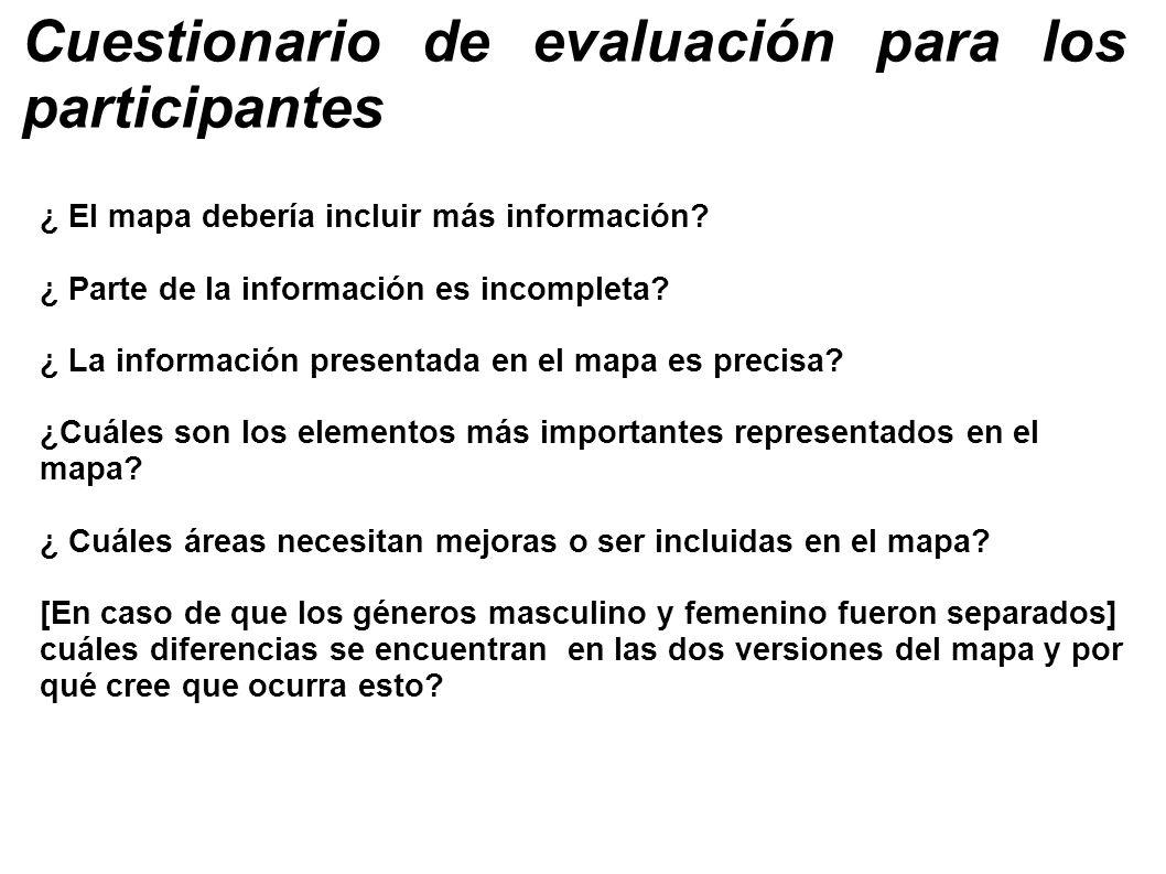 Cuestionario de evaluación para los participantes ¿ El mapa debería incluir más información? ¿ Parte de la información es incompleta? ¿ La información