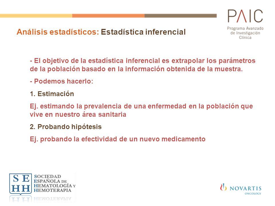 Análisis estadísticos: Estadística inferencial - El objetivo de la estadística inferencial es extrapolar los parámetros de la población basado en la i