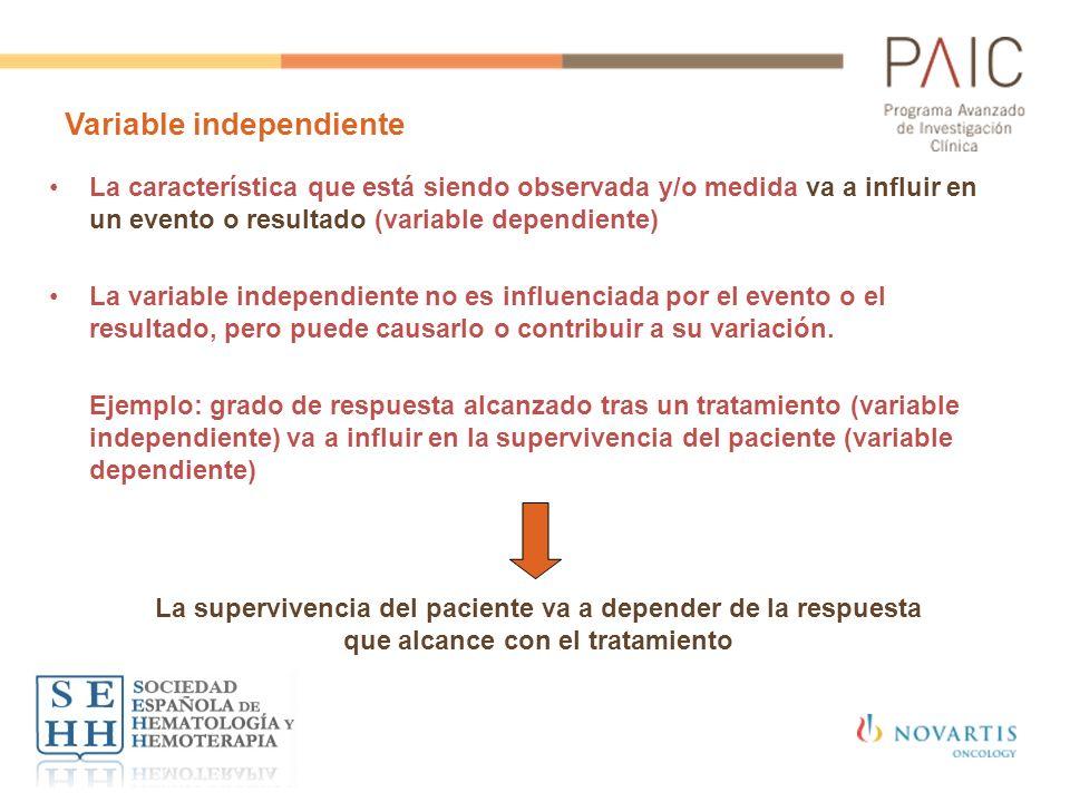 Variable independiente La característica que está siendo observada y/o medida va a influir en un evento o resultado (variable dependiente) La variable