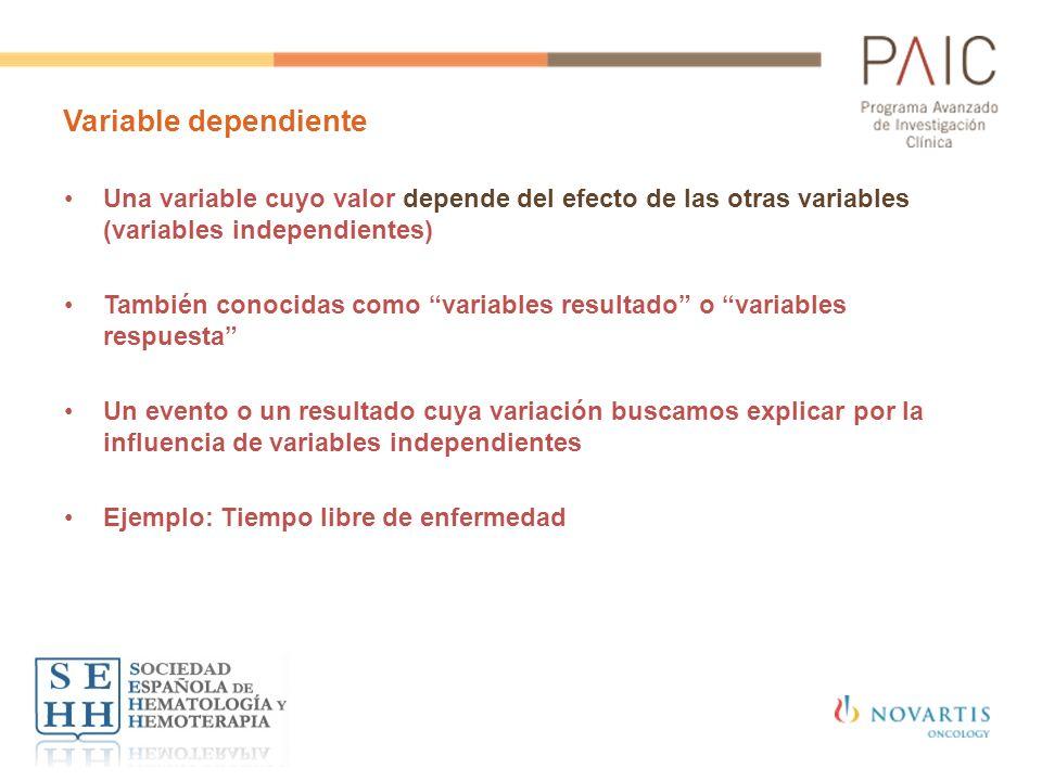 Variable dependiente Una variable cuyo valor depende del efecto de las otras variables (variables independientes) También conocidas como variables res