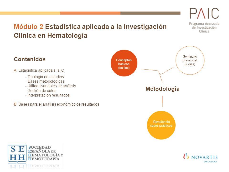 Módulo 2 Estadística aplicada a la Investigación Clínica en Hematología Contenidos AEstadística aplicada a la IC - Tipología de estudios - Bases metod