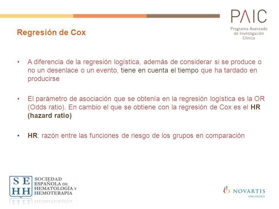 Regresión de Cox A diferencia de la regresión logística, además de considerar si se produce o no un desenlace o un evento, tiene en cuenta el tiempo q