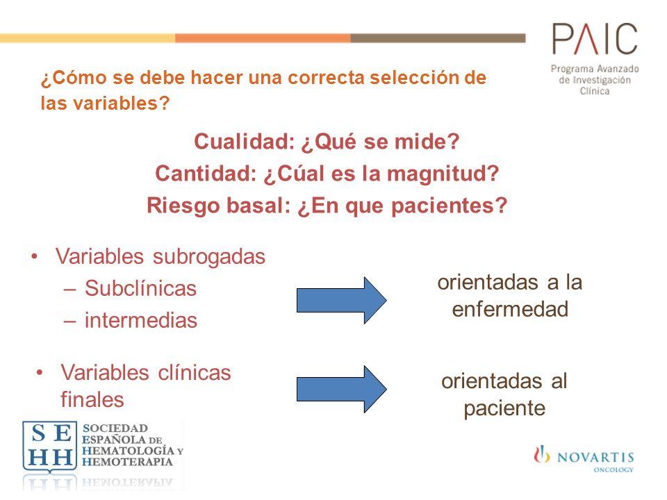 ¿Cómo se debe hacer una correcta selección de las variables? Cualidad: ¿Qué se mide? Cantidad: ¿Cúal es la magnitud? Riesgo basal: ¿En que pacientes?