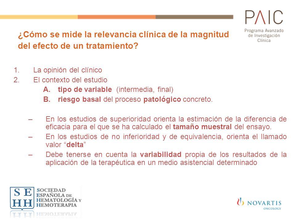 ¿Cómo se mide la relevancia clínica de la magnitud del efecto de un tratamiento? 1.La opinión del clínico 2.El contexto del estudio A.tipo de variable