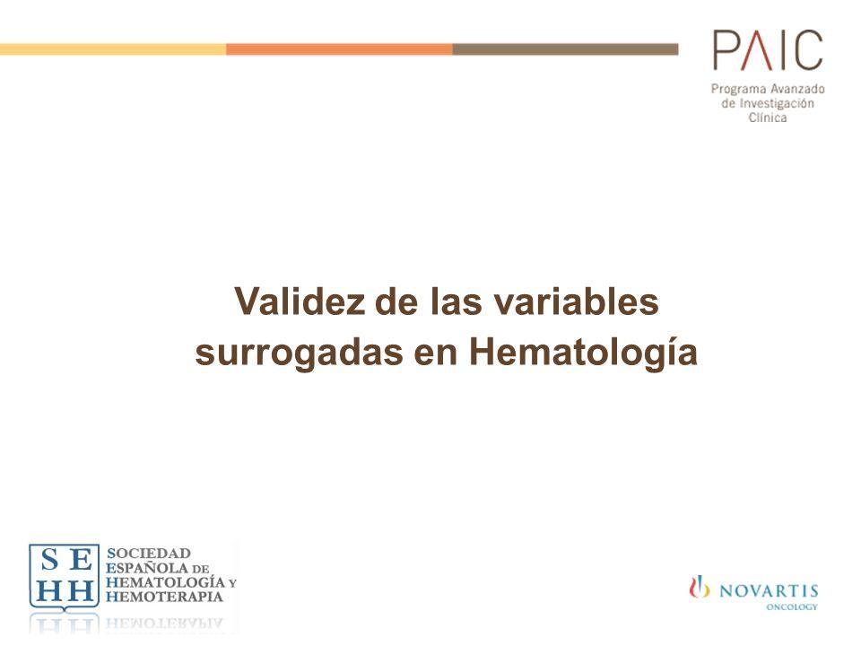 Validez de las variables surrogadas en Hematología