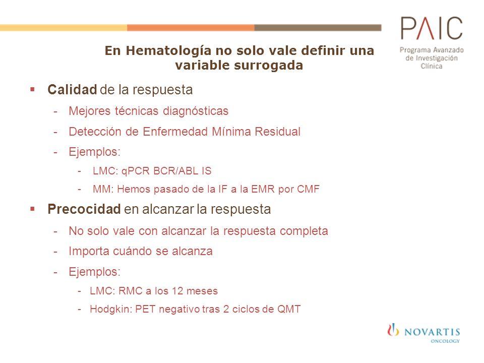 Calidad de la respuesta -Mejores técnicas diagnósticas -Detección de Enfermedad Mínima Residual -Ejemplos: - LMC: qPCR BCR/ABL IS - MM: Hemos pasado d