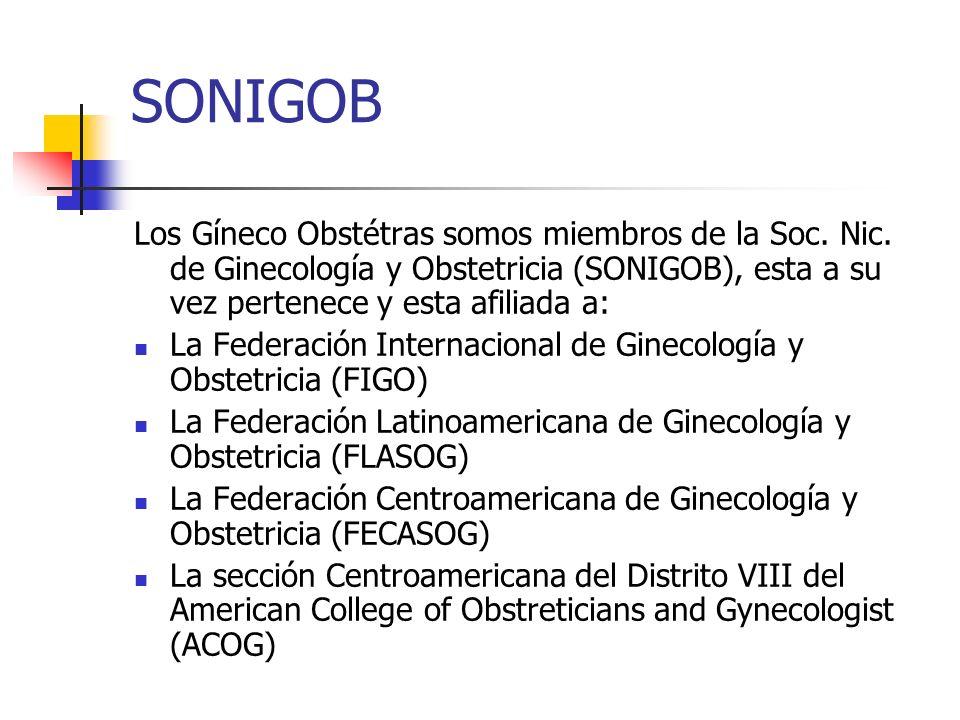 SONIGOB Los Gíneco Obstétras somos miembros de la Soc. Nic. de Ginecología y Obstetricia (SONIGOB), esta a su vez pertenece y esta afiliada a: La Fede