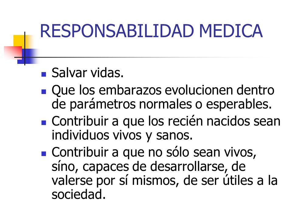 RESPONSABILIDAD MEDICA Salvar vidas. Que los embarazos evolucionen dentro de parámetros normales o esperables. Contribuir a que los recién nacidos sea