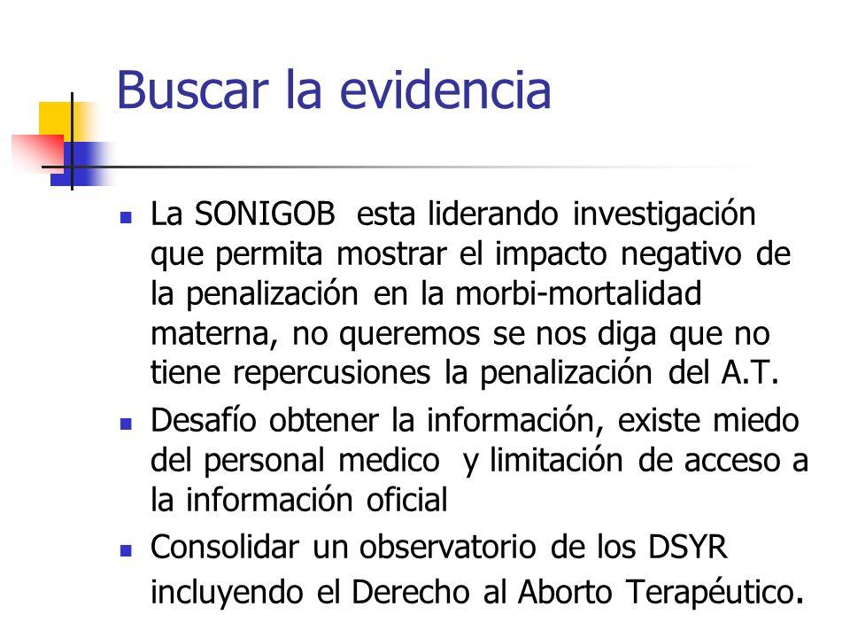 Buscar la evidencia La SONIGOB esta liderando investigación que permita mostrar el impacto negativo de la penalización en la morbi-mortalidad materna,