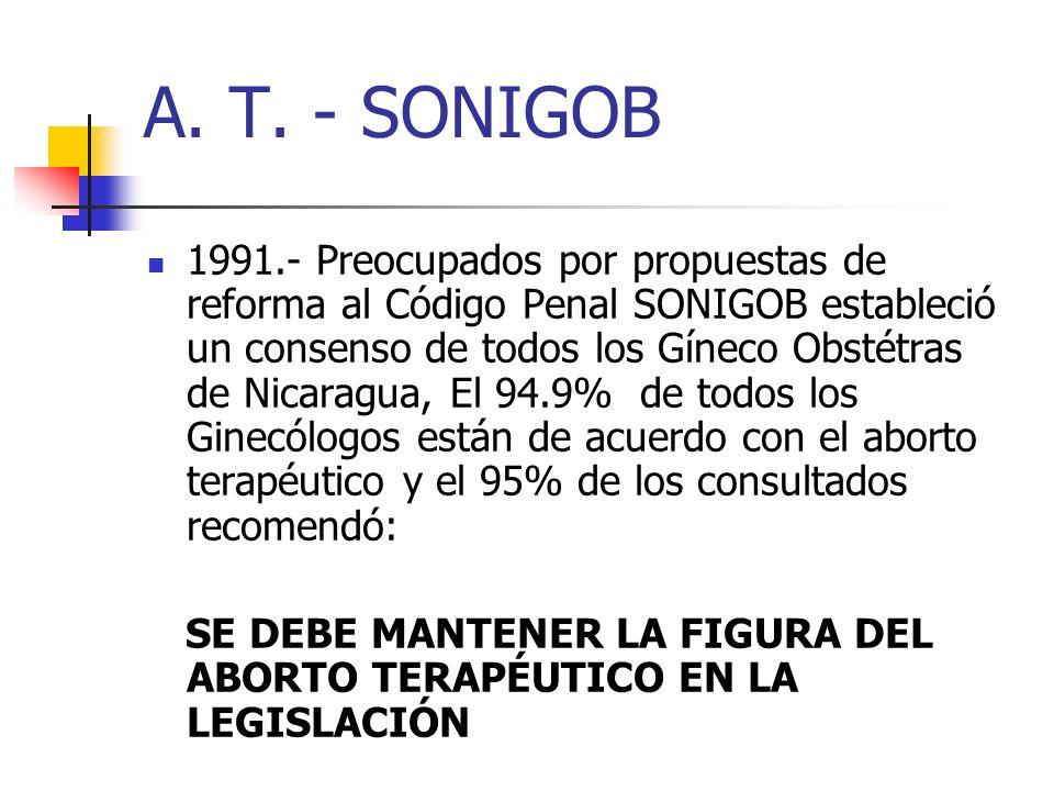 A. T. - SONIGOB 1991.- Preocupados por propuestas de reforma al Código Penal SONIGOB estableció un consenso de todos los Gíneco Obstétras de Nicaragua