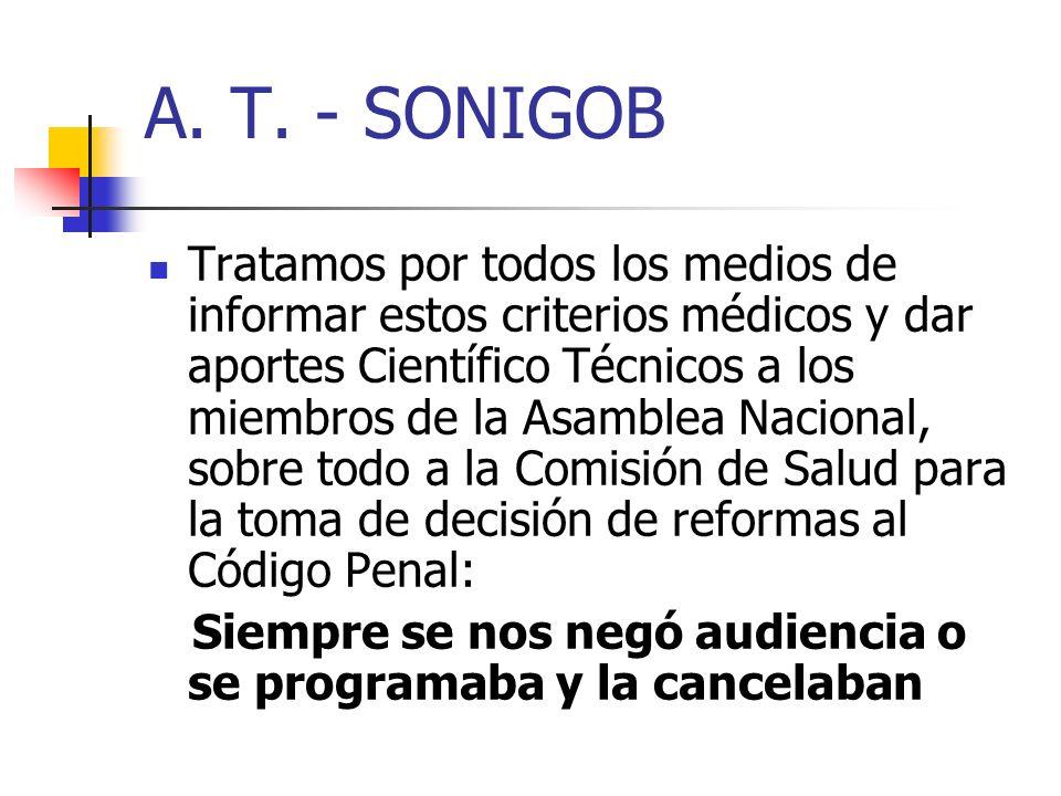 A. T. - SONIGOB Tratamos por todos los medios de informar estos criterios médicos y dar aportes Científico Técnicos a los miembros de la Asamblea Naci