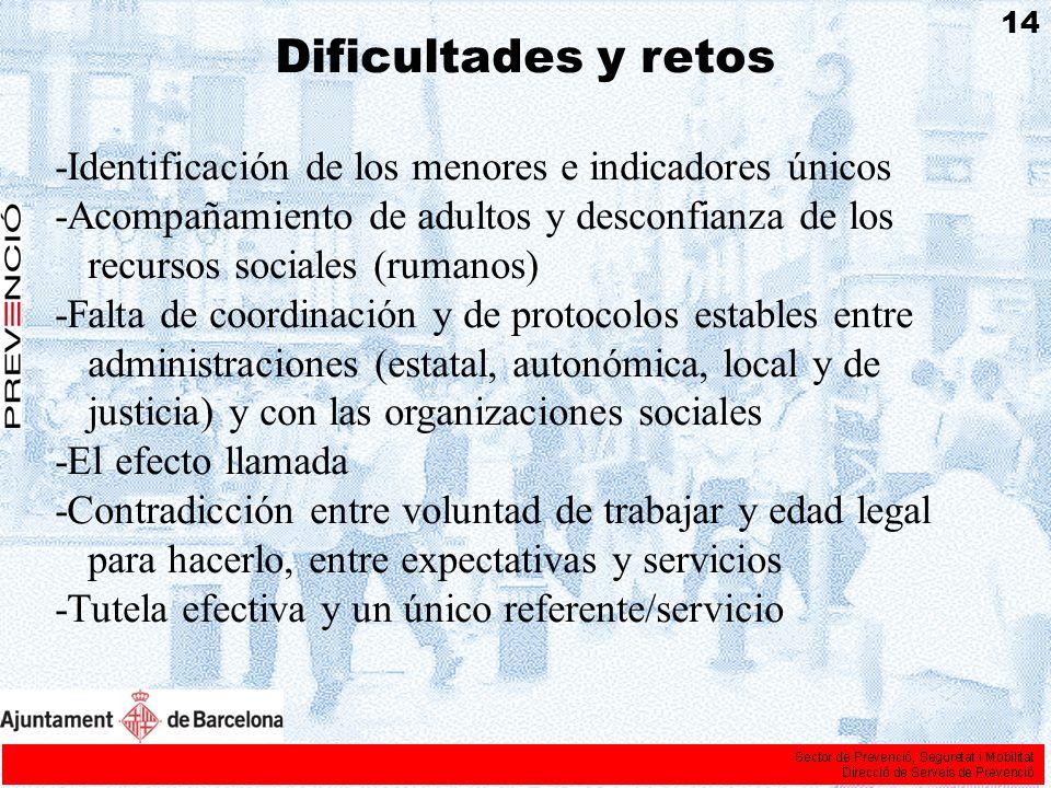 Dificultades y retos -Identificación de los menores e indicadores únicos -Acompañamiento de adultos y desconfianza de los recursos sociales (rumanos)