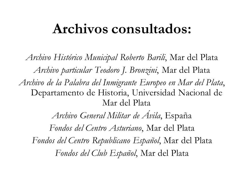 Archivos consultados: Archivo Histórico Municipal Roberto Barili, Mar del Plata Archivo particular Teodoro J. Bronzini, Mar del Plata Archivo de la Pa