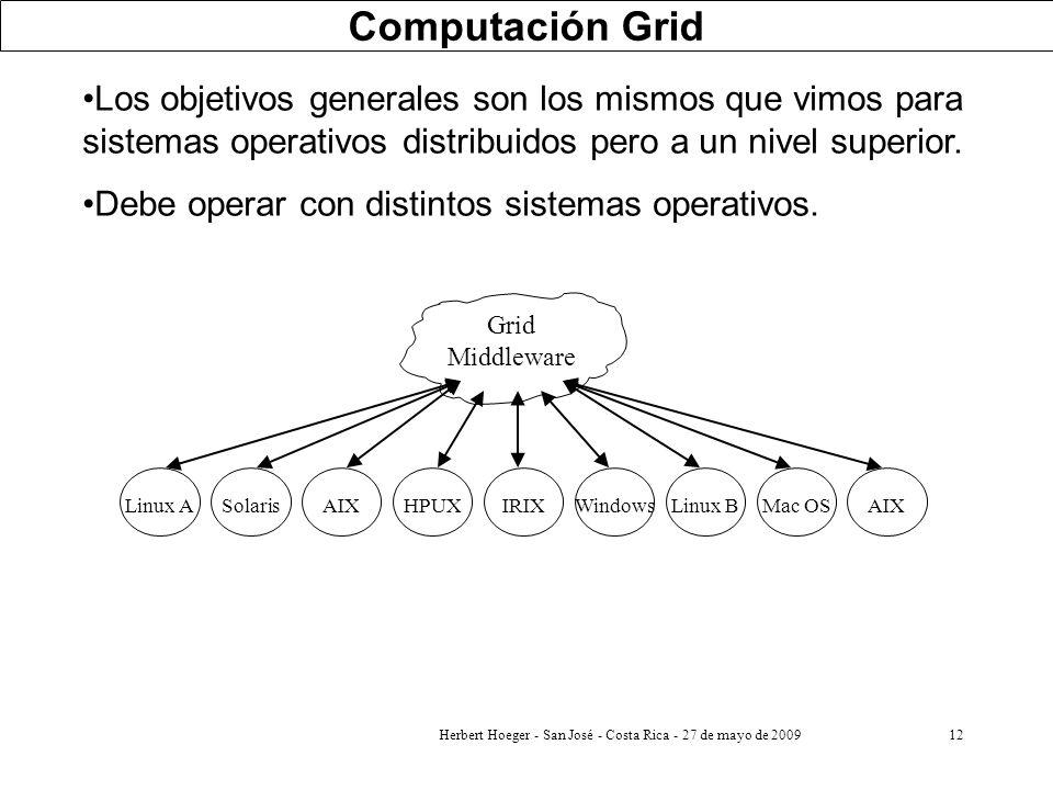 Herbert Hoeger - San José - Costa Rica - 27 de mayo de 200912 Los objetivos generales son los mismos que vimos para sistemas operativos distribuidos p