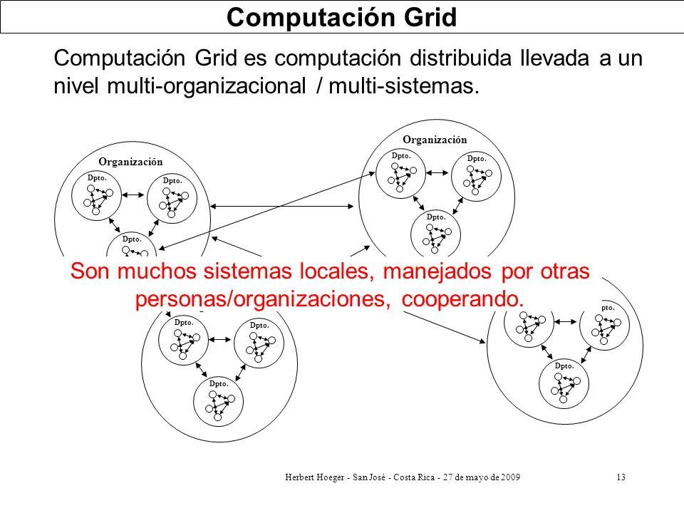 Herbert Hoeger - San José - Costa Rica - 27 de mayo de 200913 Computación Grid es computación distribuida llevada a un nivel multi-organizacional / mu
