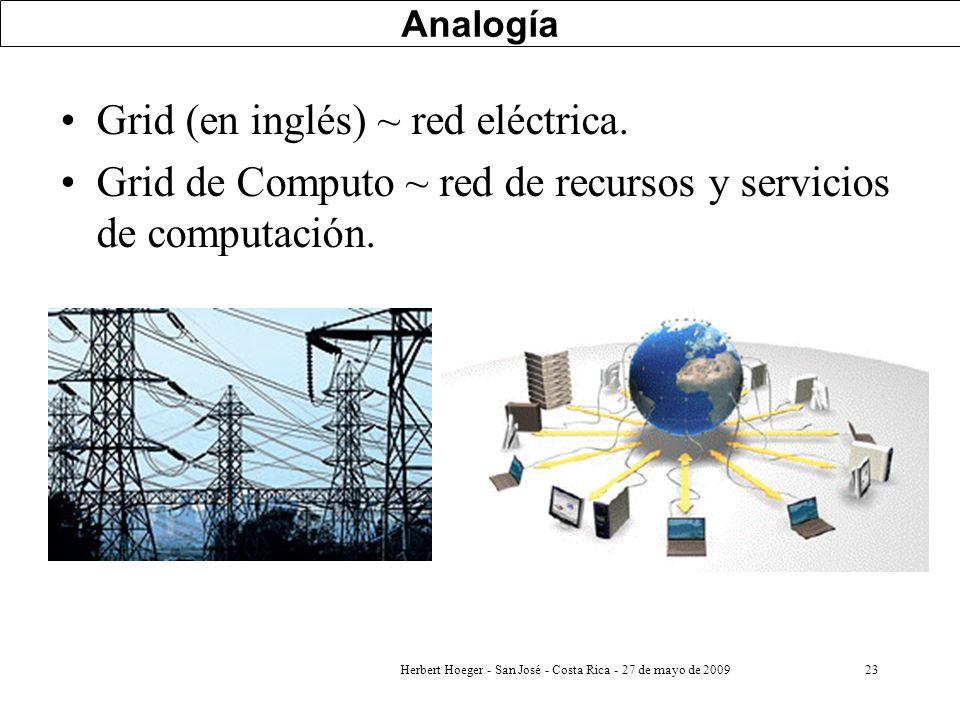Herbert Hoeger - San José - Costa Rica - 27 de mayo de 200923 Analogía Grid (en inglés) ~ red eléctrica. Grid de Computo ~ red de recursos y servicios