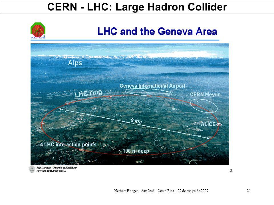 Herbert Hoeger - San José - Costa Rica - 27 de mayo de 200925 CERN - LHC: Large Hadron Collider