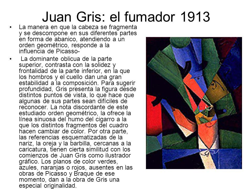 Juan Gris: el fumador 1913 La manera en que la cabeza se fragmenta y se descompone en sus diferentes partes en forma de abanico, atendiendo a un orden