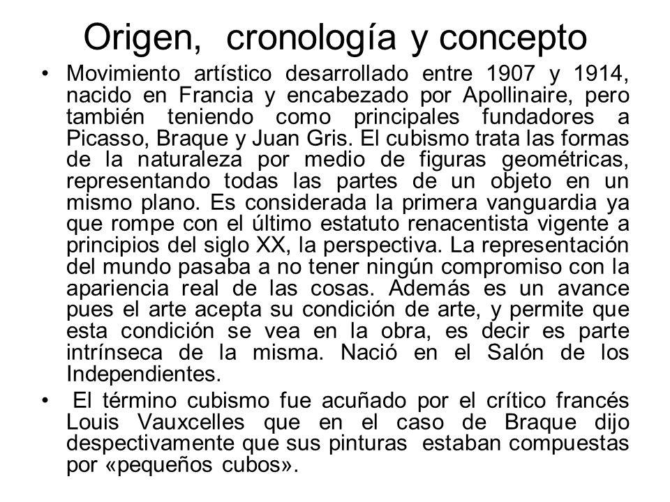 Origen, cronología y concepto Movimiento artístico desarrollado entre 1907 y 1914, nacido en Francia y encabezado por Apollinaire, pero también tenien