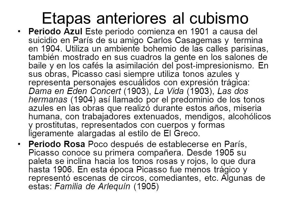 Etapas anteriores al cubismo Periodo Azul Este periodo comienza en 1901 a causa del suicidio en París de su amigo Carlos Casagemas y termina en 1904.
