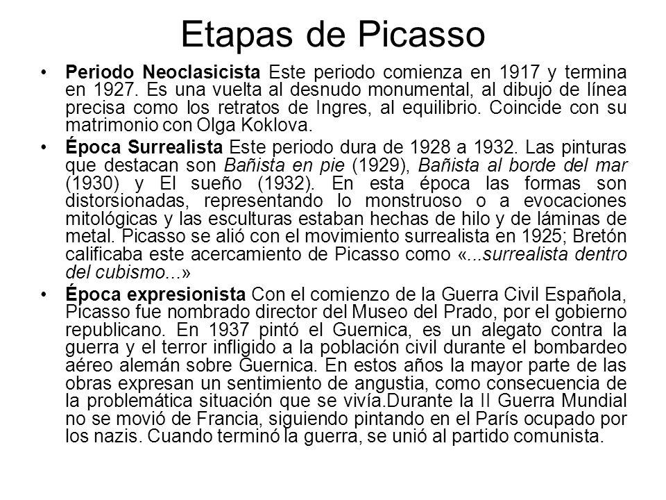 Etapas de Picasso Periodo Neoclasicista Este periodo comienza en 1917 y termina en 1927. Es una vuelta al desnudo monumental, al dibujo de línea preci