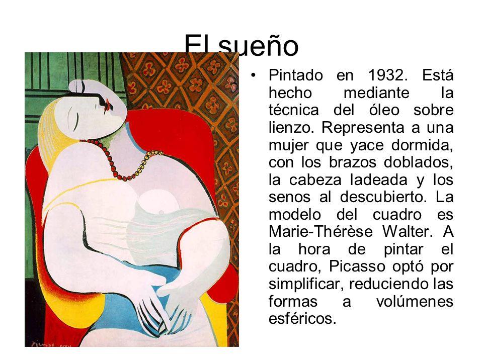 El sueño Pintado en 1932. Está hecho mediante la técnica del óleo sobre lienzo. Representa a una mujer que yace dormida, con los brazos doblados, la c