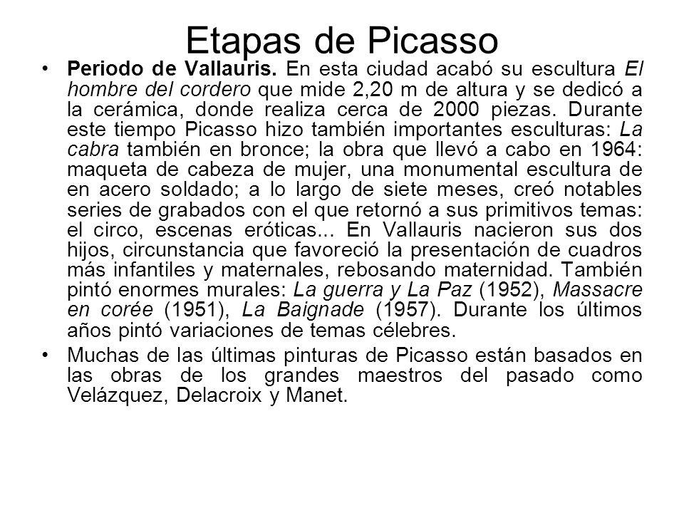 Etapas de Picasso Periodo de Vallauris. En esta ciudad acabó su escultura El hombre del cordero que mide 2,20 m de altura y se dedicó a la cerámica, d