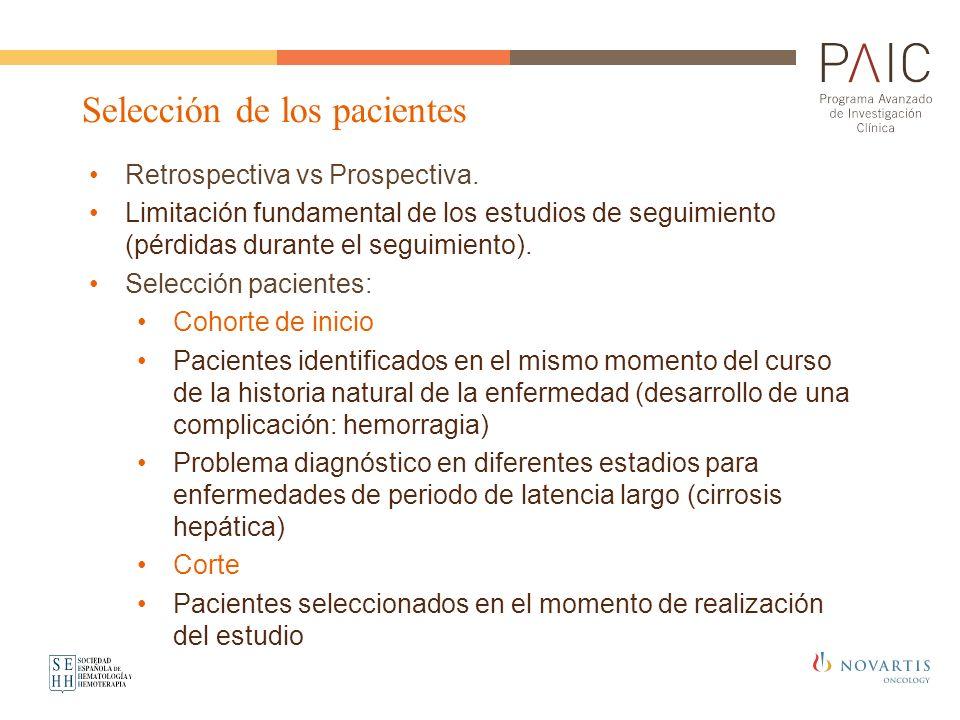 Retrospectiva vs Prospectiva. Limitación fundamental de los estudios de seguimiento (pérdidas durante el seguimiento). Selección pacientes: Cohorte de