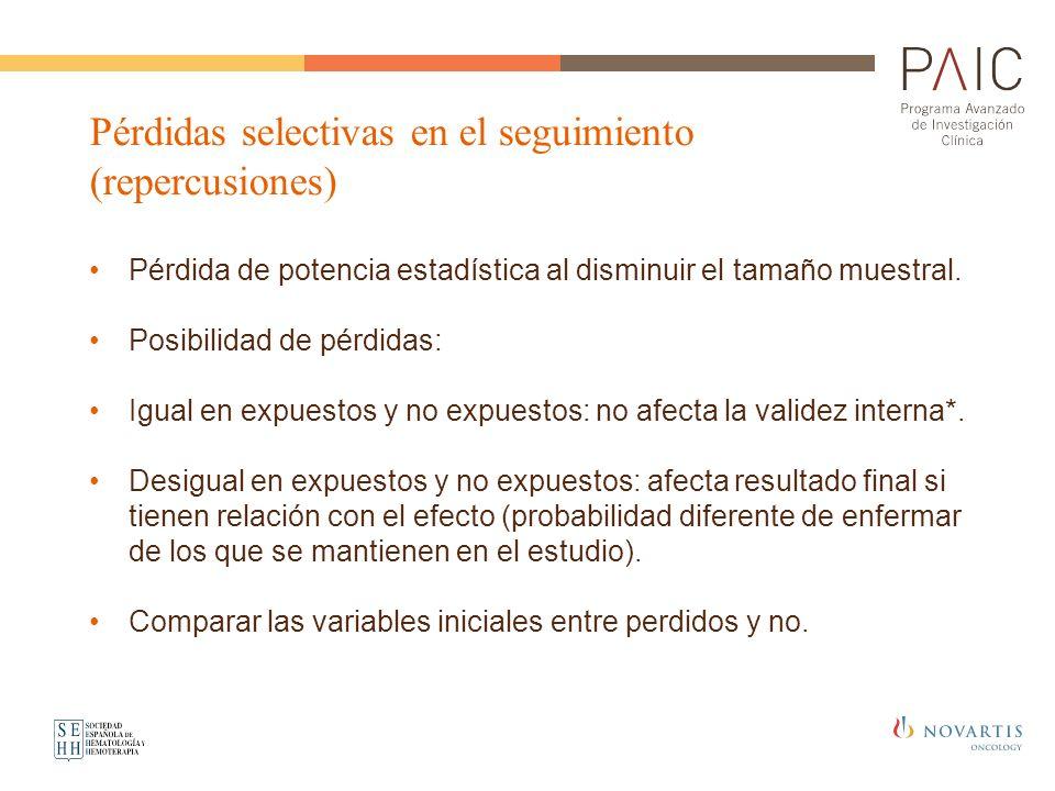 Pérdidas selectivas en el seguimiento (repercusiones) Pérdida de potencia estadística al disminuir el tamaño muestral. Posibilidad de pérdidas: Igual