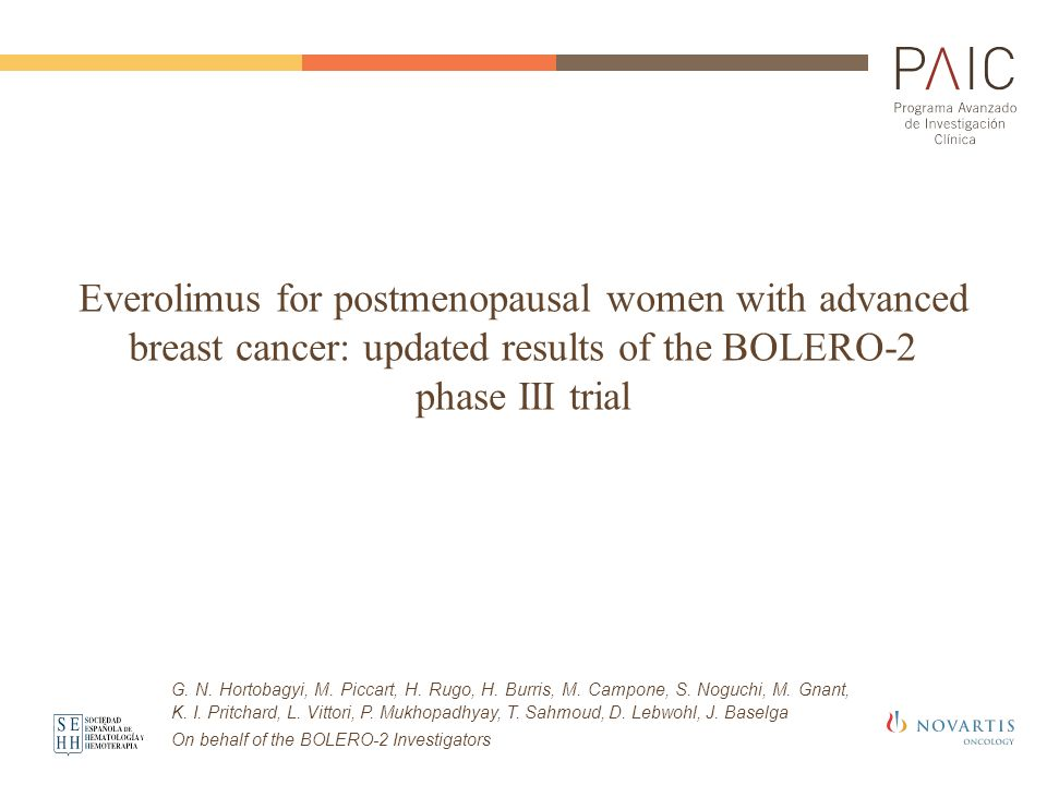 Everolimus for postmenopausal women with advanced breast cancer: updated results of the BOLERO-2 phase III trial G. N. Hortobagyi, M. Piccart, H. Rugo