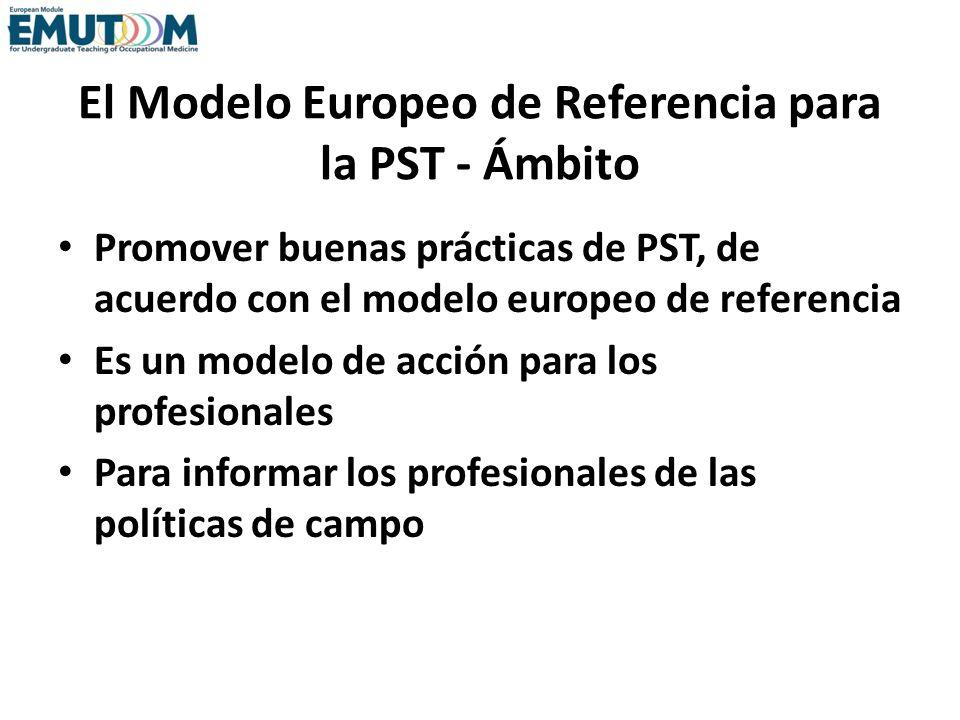 El Modelo Europeo de Referencia para la PST - Ámbito Promover buenas prácticas de PST, de acuerdo con el modelo europeo de referencia Es un modelo de
