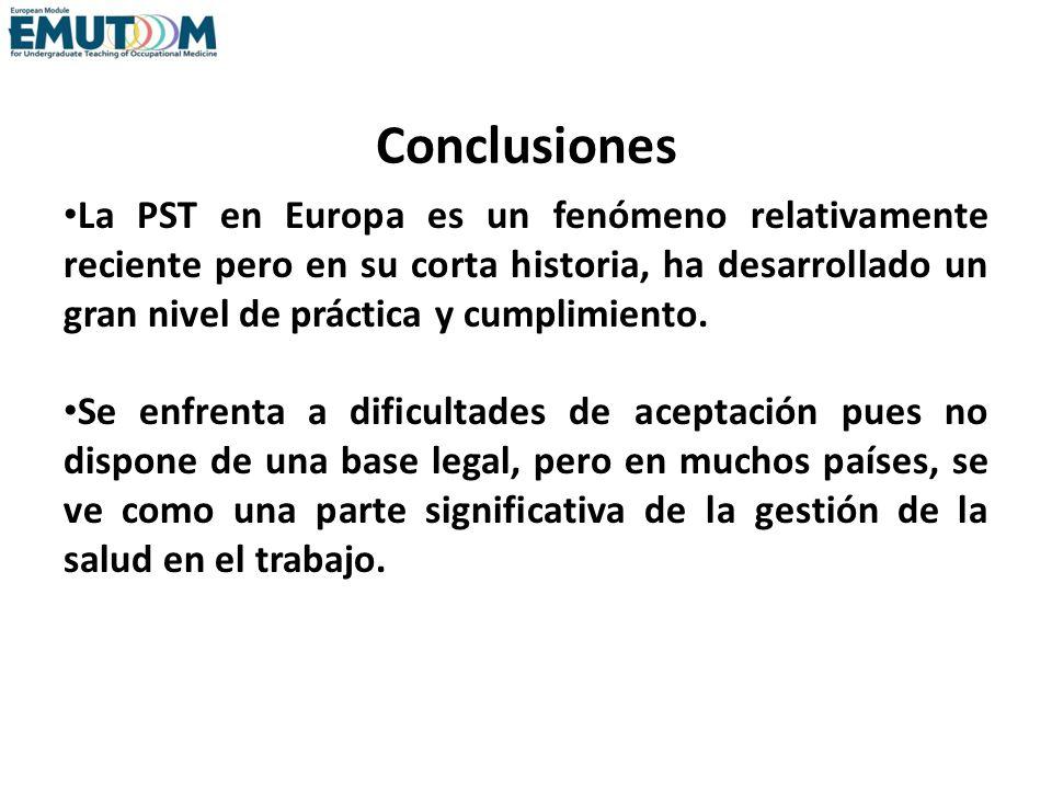 Conclusiones La PST en Europa es un fenómeno relativamente reciente pero en su corta historia, ha desarrollado un gran nivel de práctica y cumplimient