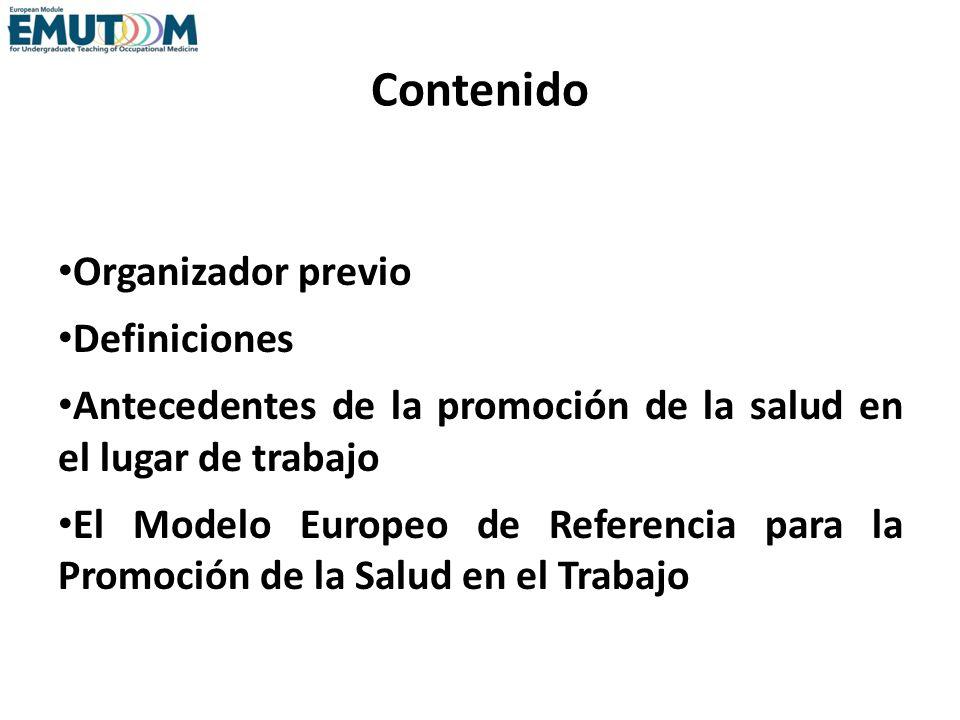 Contenido Organizador previo Definiciones Antecedentes de la promoción de la salud en el lugar de trabajo El Modelo Europeo de Referencia para la Prom