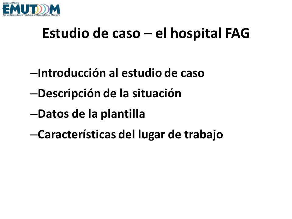 Estudio de caso – el hospital FAG – Introducción al estudio de caso – Descripción de la situación – Datos de la plantilla – Características del lugar