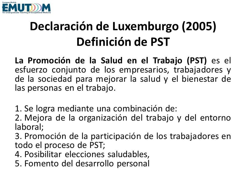 Declaración de Luxemburgo (2005) Definición de PST La Promoción de la Salud en el Trabajo (PST) es el esfuerzo conjunto de los empresarios, trabajador