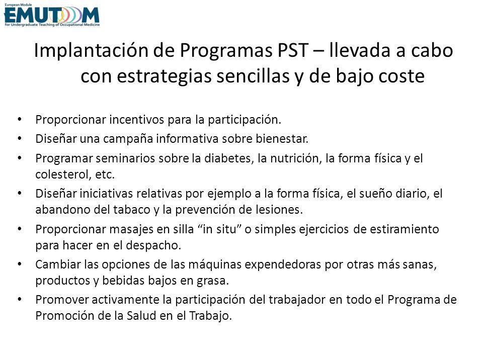 Implantación de Programas PST – llevada a cabo con estrategias sencillas y de bajo coste Proporcionar incentivos para la participación. Diseñar una ca