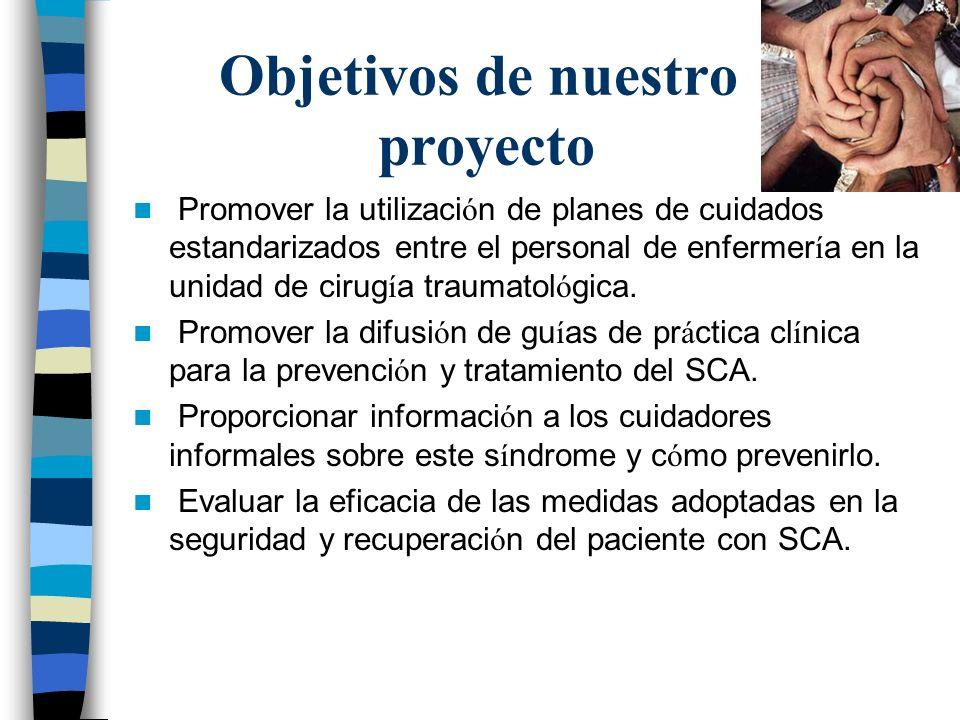 Objetivos de nuestro proyecto Promover la utilizaci ó n de planes de cuidados estandarizados entre el personal de enfermer í a en la unidad de cirug í