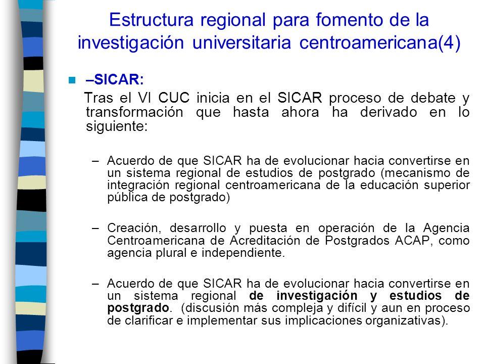 Estructura regional para fomento de la investigación universitaria centroamericana(4) –SICAR: Tras el VI CUC inicia en el SICAR proceso de debate y tr