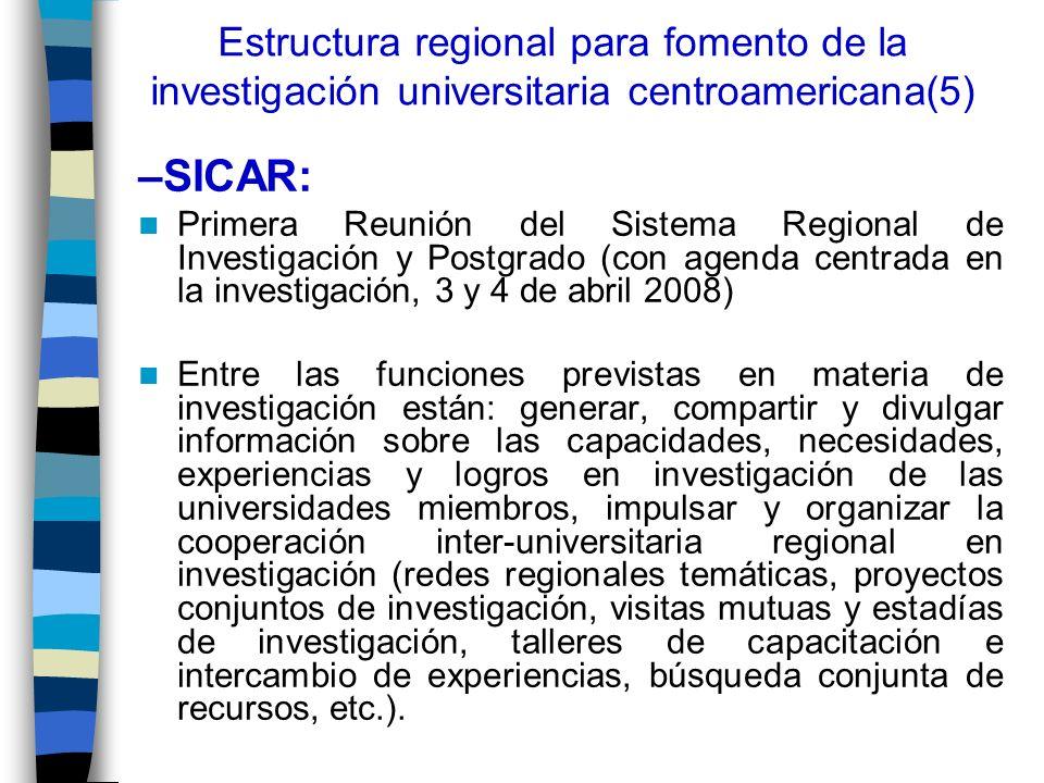 Estructura regional para fomento de la investigación universitaria centroamericana(5) –SICAR: Primera Reunión del Sistema Regional de Investigación y