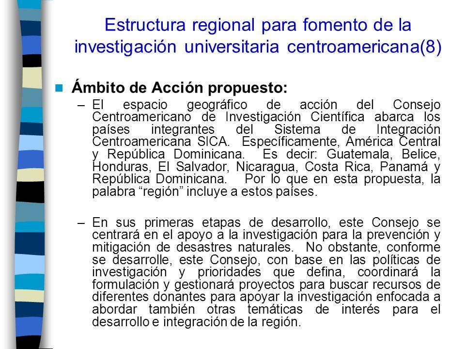 Estructura regional para fomento de la investigación universitaria centroamericana(8) Ámbito de Acción propuesto: –El espacio geográfico de acción del