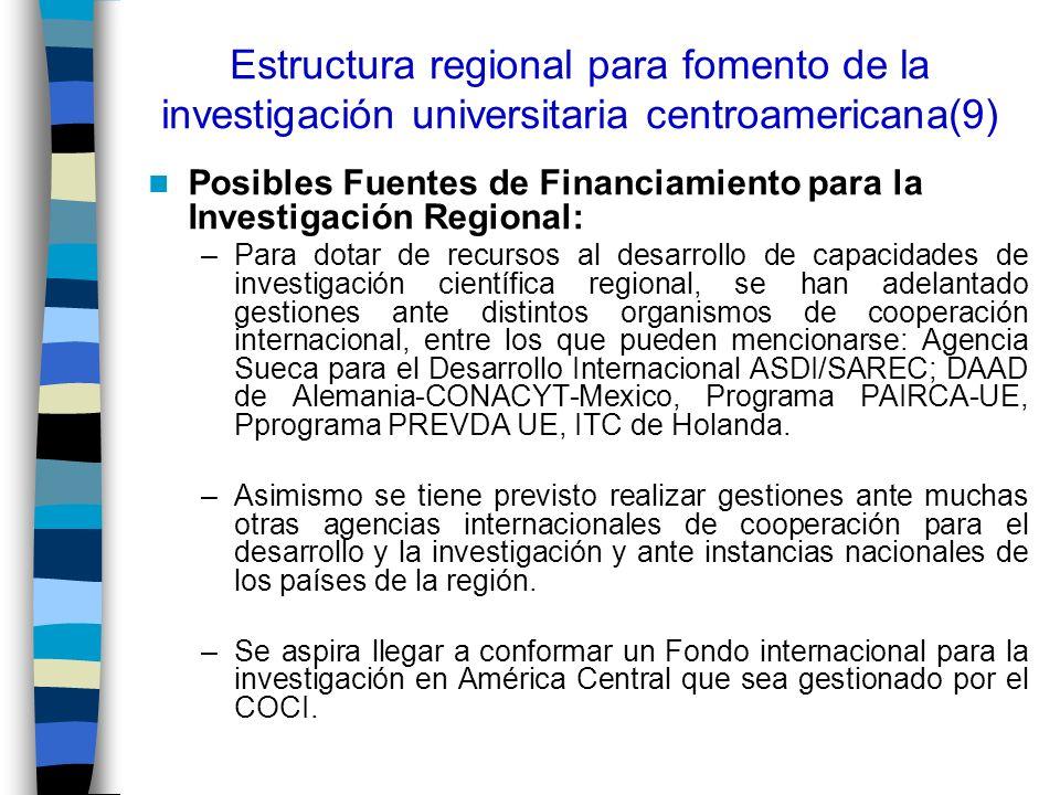 Estructura regional para fomento de la investigación universitaria centroamericana(9) Posibles Fuentes de Financiamiento para la Investigación Regiona