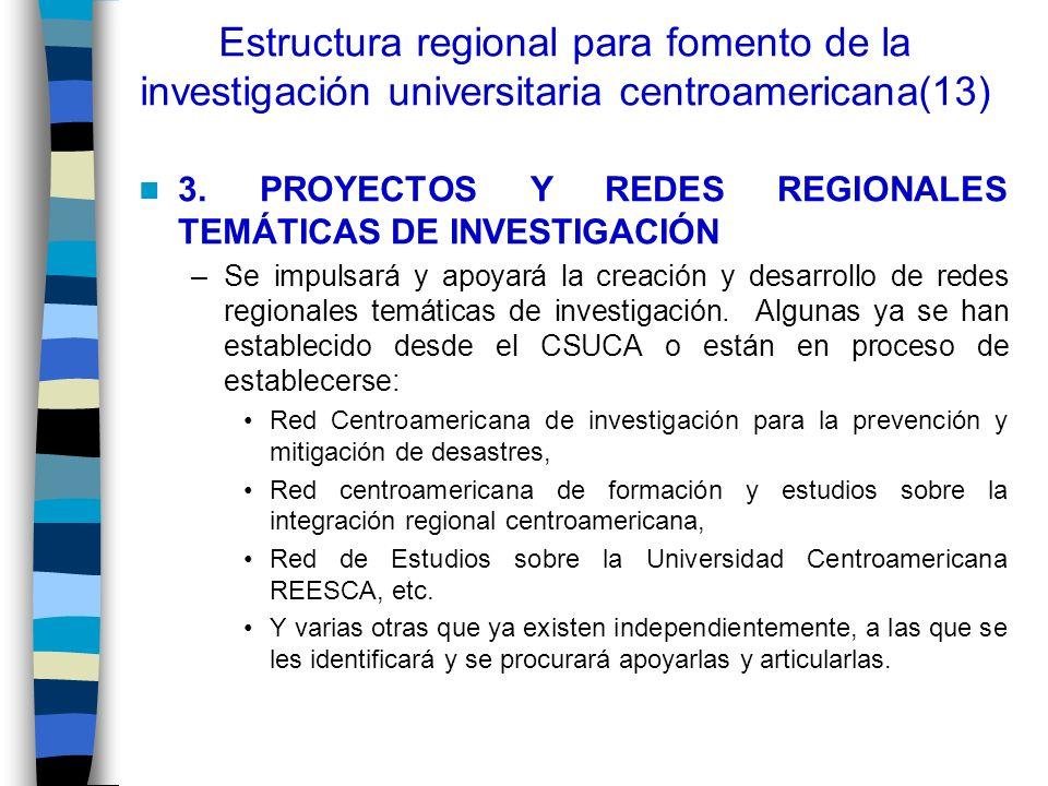 Estructura regional para fomento de la investigación universitaria centroamericana(13) 3. PROYECTOS Y REDES REGIONALES TEMÁTICAS DE INVESTIGACIÓN –Se