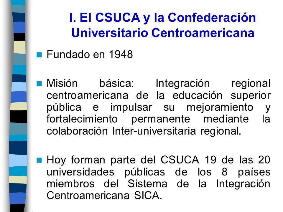 I. El CSUCA y la Confederación Universitario Centroamericana Fundado en 1948 Misión básica: Integración regional centroamericana de la educación super