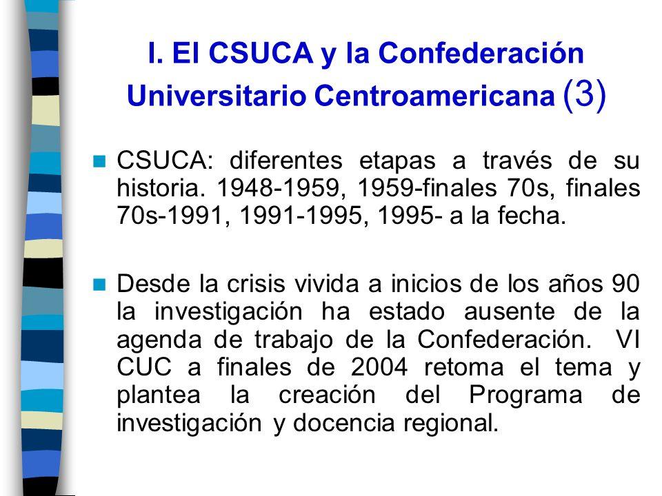 I. El CSUCA y la Confederación Universitario Centroamericana (3) CSUCA: diferentes etapas a través de su historia. 1948-1959, 1959-finales 70s, finale