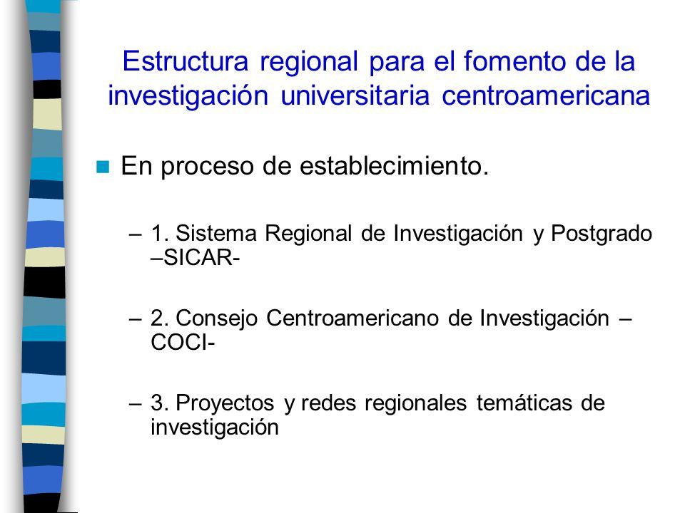 Estructura regional para fomento de la investigación universitaria centroamericana(12) Funciones del Consejo: –Definir las políticas, prioridades, planes estratégicos y Programas de investigación, para promover y apoyar la investigación científica, de adaptación tecnológica y de innovación en la región.