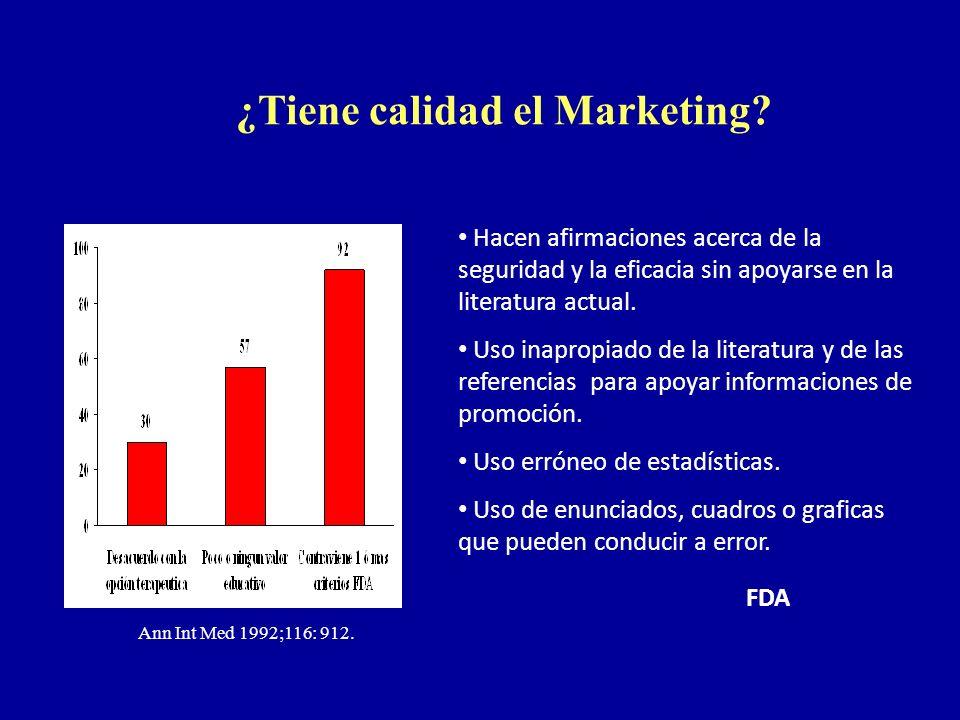 ¿Tiene calidad el Marketing? Ann Int Med 1992;116: 912. Hacen afirmaciones acerca de la seguridad y la eficacia sin apoyarse en la literatura actual.
