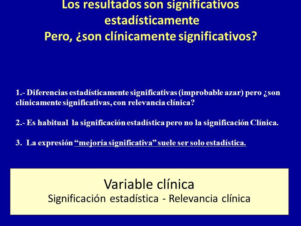 Los resultados son significativos estadísticamente Pero, ¿son clínicamente significativos? 1.- Diferencias estadísticamente significativas (improbable