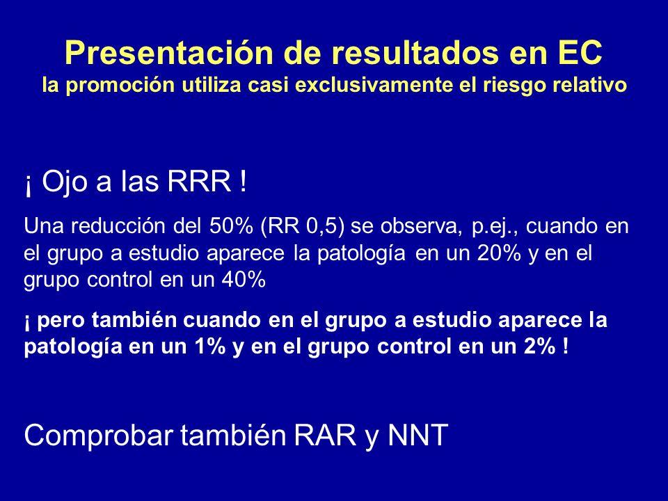¡ Ojo a las RRR ! Una reducción del 50% (RR 0,5) se observa, p.ej., cuando en el grupo a estudio aparece la patología en un 20% y en el grupo control