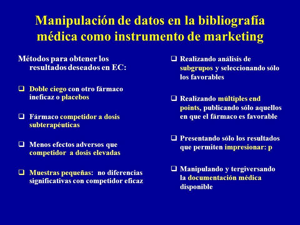Manipulación de datos en la bibliografía médica como instrumento de marketing Métodos para obtener los resultados deseados en EC: Doble ciego con otro
