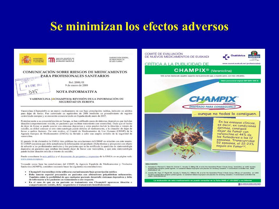 Se minimizan los efectos adversos